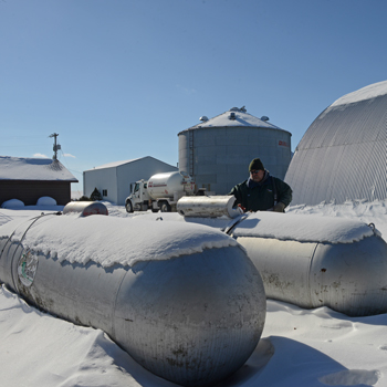 Snow covered propane tanks