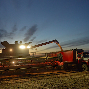 Combine being filled in the night.