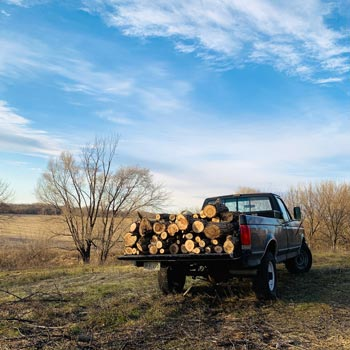 older pick up truck in a field with lumber in the back under an autumn sky