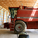 Red combine, combine, ag equipment,