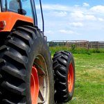 Orange tractor by a gate