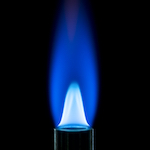 Blue-flamed pilot light.