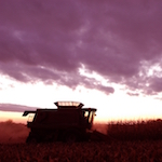 Combine in the field at sunset.