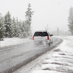 White SUV driving in the snow, driving, car, SVU, snow, winter, road,