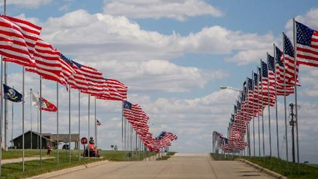 Avenue of Flags in Holstein, IA